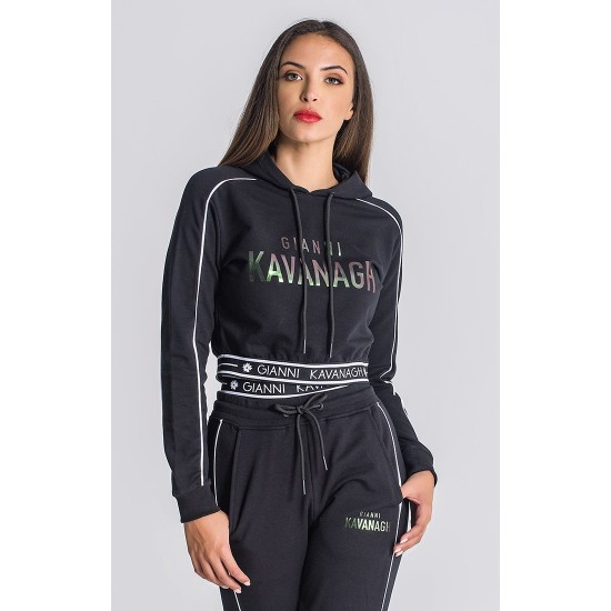 Gianni Kavanagh Black Mystic Reflection Cropped Hoodie